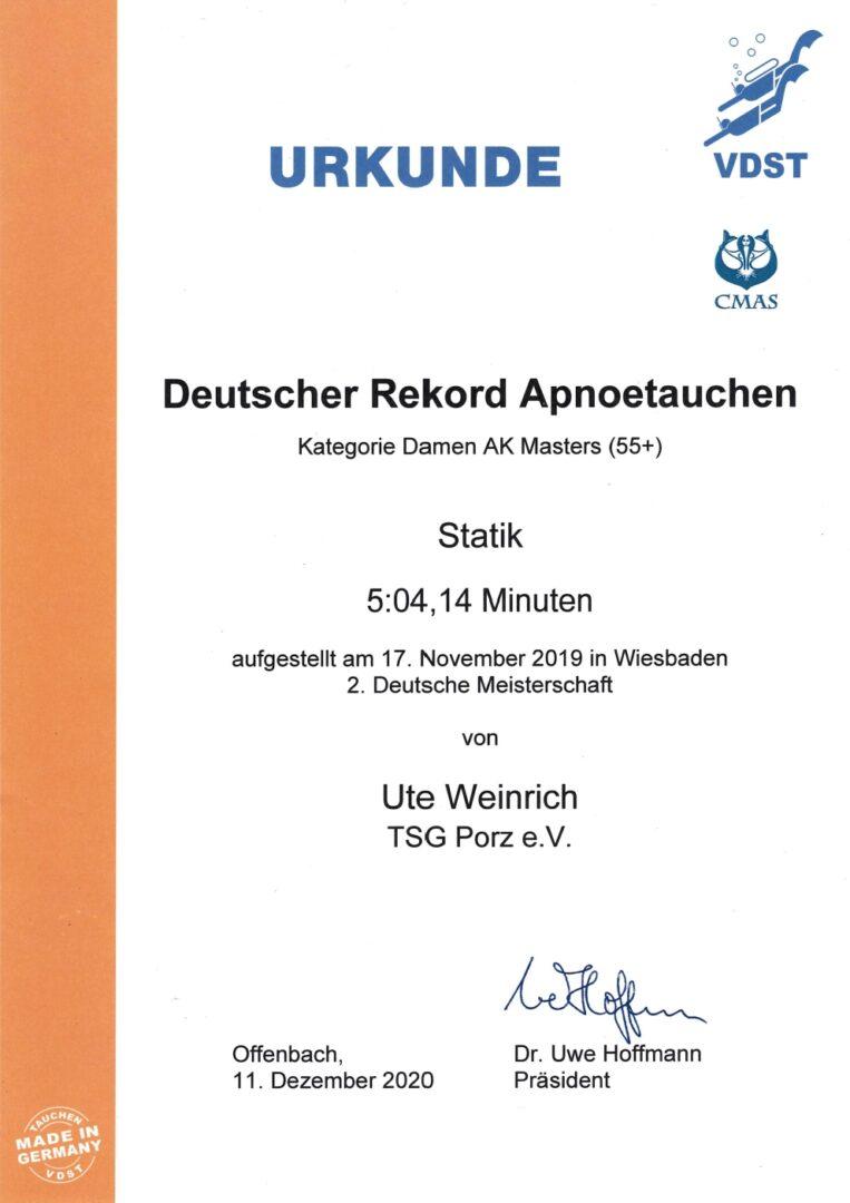Offizielle Beurkundung von Utes Deutschen Rekorden